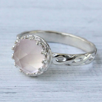 Rose quartz ring, 8 mm rose cut faceted gemstone, sterling silver floral band, handmade gemstone ring, crown princess setting, pink quartz