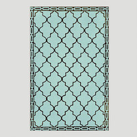 Aqua Floor Tile Indoor-Outdoor Rug - World Market