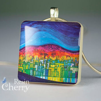 art necklace pendants,pendant charm,art resin pendants,night city lake river- D0624CP