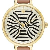 kate spade new york 'metro - bow' leather strap watch, 34mm | Nordstrom