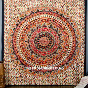 Hippie Mandala Tapestry Wall Hanging, Bohemian Wall Tapestries Ethnic Décor, Boho Tapestry Beach Throw, Dorm Bedding Décor, Kerala Tapestry