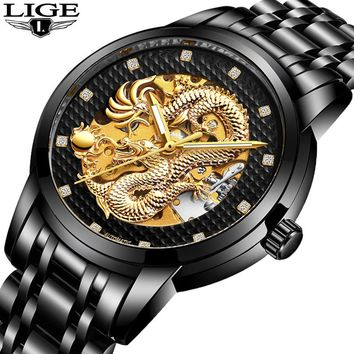 LIGE Luxury Gold Skeleton Dragon Sculpture Watch Full Steel Waterproof