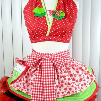 Strawberry Shortcake Baby Doll Half Apron and by dotsdiner on Etsy