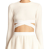 Elizabeth and James - Sedonna Criss-Cross Textured Cropped Top - Saks Fifth Avenue Mobile