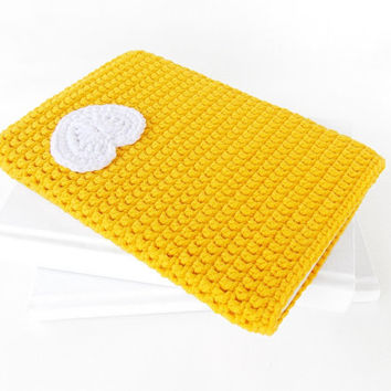 Yellow iPad mini 4 cover, heart Nexus 7 pouch, Kindle Fire HD sleeve, Samsung Galaxy Note 8 soft case, Nook Tablet cover, 7 inch tablet cozy
