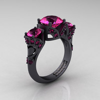 Scandinavian 14K Matte Black Gold 2.0 Ct Pink Sapphire Three Stone Designer Engagement Ring R406-14KMBGPS