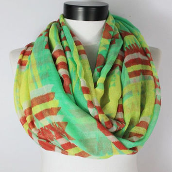 tribal green scarf,infinity scarf, scarf, scarves, long scarf, loop scarf, gift
