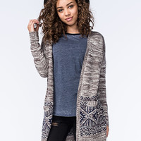 Gypsies & Moondust Marled Border Print Womens Cardigan Grey Combo  In Sizes