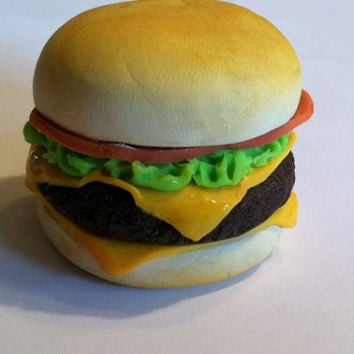 Cheeseburger Magnet, Polymer Clay Magnet, Miniature Food