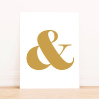 Ampersand Gold PRINTABLE ART Dorm Decor Apartment Art Bathroom Art