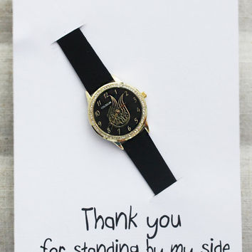 Thank You Card Note WristWatch girl woman Gift Black Band Rhinestones Swan Golden Fashion watch