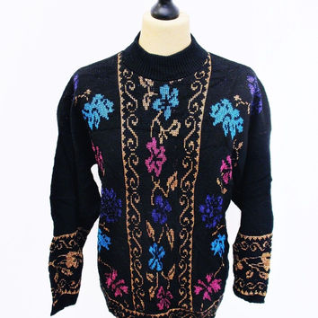 Vintage 1980s Psychedelic Floral Goth Indie Sweater Jumper Small