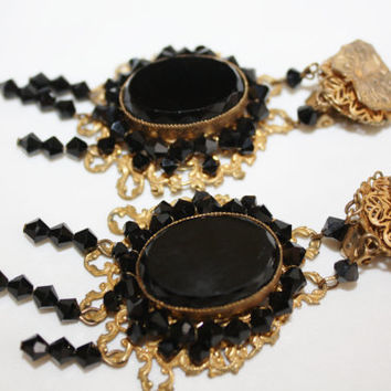 Vintage Miriam Haskell Earrings, Black Glass Filigree Drop Dangle Earrings  1940s Jewelry