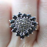 Black Onyx Silver Ring Vintage//Mothers Day Ring
