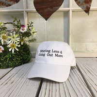 WEARING LESS Baseball Hat Low Profile Embroidered Baseball Caps Dad Hats White