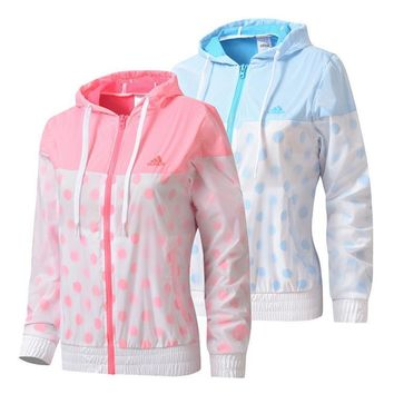 Adidas hooded windbreaker, jogging, breathable sports casual jacket