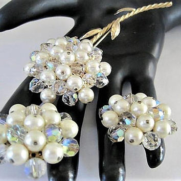 Pearl Crystal Brooch, Aurora Borealis Flower, Large Brooch and Earrings , Gold Tone Setting, Lovely Cluster Set