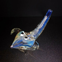 Fumed Glass Reptile Pipe with Horns