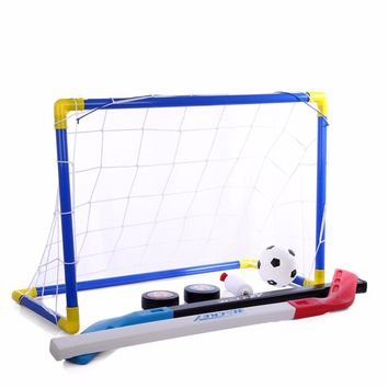 2 in 1 Outdoor/Indoor Kids Sports Soccer & Ice Hockey Goals with Balls and Pump Practice Scrimmage Game Football  Toy Set