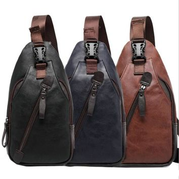 Men PU Leather High Quality Travel Cross Body Messenger Shoulder Fashion Casual Sling Pack Chest Bag