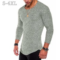 Plus Size S-4XL Slim Fit Sweater Men 2018 Spring Autumn Thin O-Neck Knitted Pullover Men Casual Solid Mens Sweaters Pull Homme