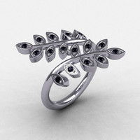 14K White Gold Black Diamond Leaf and Vine Wedding Ring, Engagement Ring NN112-14KWGBD