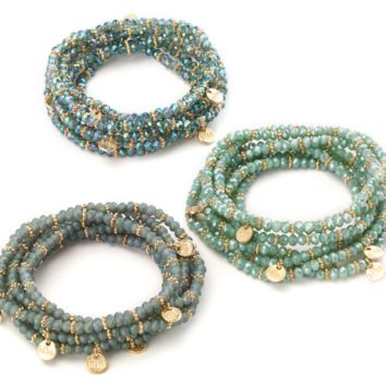 Stretch Beaded Bracelet with Gold Charms