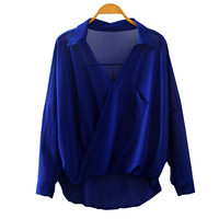 Casual With Pocket Batwing Sleeve Chiffon Tops Long Sleeve Blouse [4920570116]