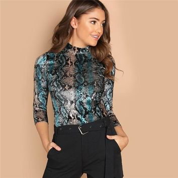 Mock Neck Snakeskin Velvet Pattern Stand Collar 3/4 Sleeve Shirt  Womens Clothes Female Slim Shirts