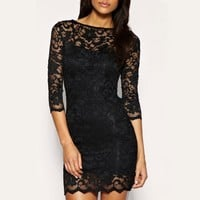 Women Sexy Lace Dress 3/4 Sleeve Slash Neck Bodycon Cocktail Evening Dress Black