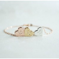 Custom Trio Heart Bracelet