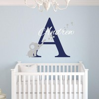 Custom Name Elephant Wall Stickers For Kids Room Personalized Boys Name Bedroom Nursery Wall Art Pic Baby Vinyl Wall Decals D671