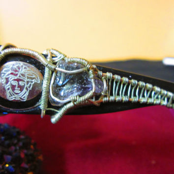 Say Your Offer! Luxury Wire Wrapped Authentic Versace Sunglasses Hybrid Wrap Bolivian Ametrine Silver Filled Wire OOAK LUX