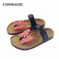 Fashion Cork Slipper Sandal 2017 New Women Summer Beach Sweet Mixed Color Butterfly Patchwork Slides Flip Flops Shoe Flat
