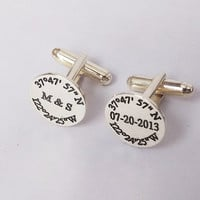 Latitude longitude Wedding Cufflinks,Engraved Coordinates Cufflinks,Personalized Initials and Date Cufflinks,Anniversary Date Cufflinks