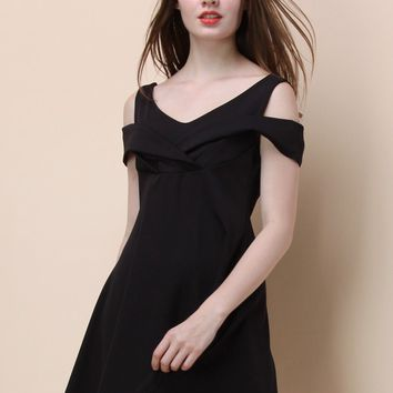 Toast to Elegance Cold-shoulder Dress in Black