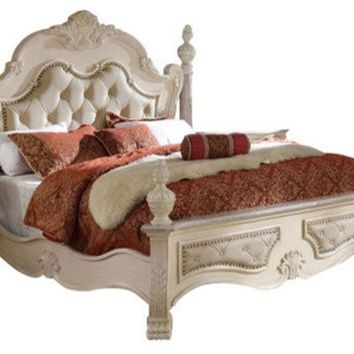Monaco Antique White Queen Bed