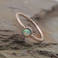Rose Gold White Opal Daith Hoop Ring Rook Hoop Septum Hoop