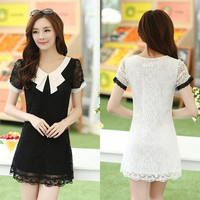 Products Summer women dress short sleeve Slim Casual lace dress Plus-size Clothing M-4XL Black/White Women's Dresses = 1958223044