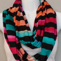 Hacchi Knit Multicolor Scarf Striped Infinity Scarf Eternity Loop Colorful Scarf Warm Scarf Winter Scarf Turquoise Infinity Scarves