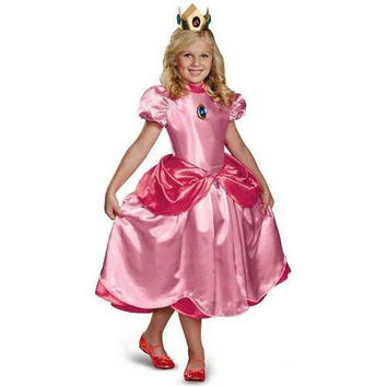 Super Mario Brothers Deluxe Princess Peach Costume - Large (10-12)