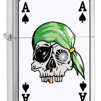 Zippo Custom Lighter: Ace of Spades with Pirate Skull - Brushed Chrome 78744