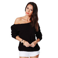 Pullover Sexy Strapless Long Sleeve Sweater [9073801862]