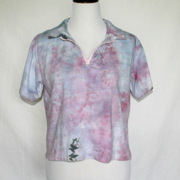 Grunge Crop Top, Upcycled Shirt, Tie Dyed Shirt, 90s Crop Top, Upcycled Grunge Shirt, Vintage Upcycled Shirt, Size Large