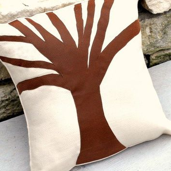 Fall Tree Silhouette Linen Pillow Cover by YellowBugBoutique