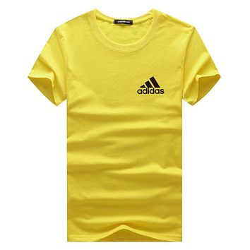 ADIDAS 2018 summer wild tide brand fashion round neck pullover T-shirt F-A000-PPNZ Yellow