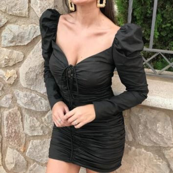 Women's autumn and winter long-sleeved dress female black pleated sexy square collar slim skirt