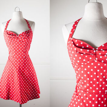 Vintage 90s Polka Dot Mini Dress | Soft Grunge Babydoll Red Polka Dot Dress 80s Fit and Flare Dress Mini Skirt Halter Prom Pin Up Retro 50s