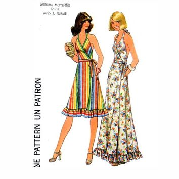 Vintage 70s Grad Simplicity 7484 halter dress pattern Bust 38 to 40
