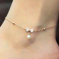 Golden Bow Tie Anklet With Pearl from Bblythe